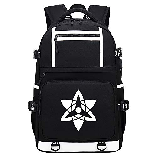 BOBD-DW Naruto Laptop Backpack with USB Charging Port Business Notebook Anti-Theft Rucksacktablets Daypack No Word USB Anime Backpack 48X30X15CM