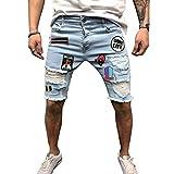 Pantalones Cortos De Verano para Hombre Pantalones Cortos Vaqueros hasta La Rodilla Pantalones De Verano Pantalones De Verano Azul Claro S