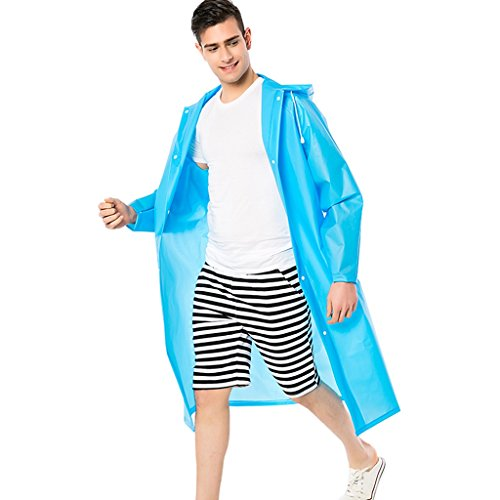 Vestes anti-pluie QFF Imperméable Adulte Hommes et Femmes Longue Section Extérieur à Pied Escalade Tourisme Pêche Transparent Big Hat Individual Waterproof Poncho (Couleur : Bleu, Taille : L)