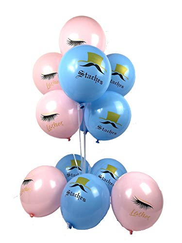 Gender Reveal Balloons 20 Count Lashes or Staches Theme Bossy Baby Gender Reveal Party Supplies