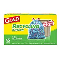 Glad Tall Kitchen Drawstring Recycling Trash Bags, Blue, 45 Count by Glad