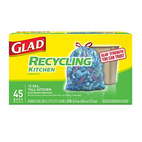 Glad Tall Kitchen Drawstring Recycling Bags  13 Gallon Blue Trash Bag  45 Count Each