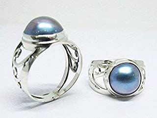 mabe pearl ring, 925 sterling silver ring with peacock 10 mm mabe pearl, pearl ring, blue mabe pearl ring, bali silver ring with mabe, size 6