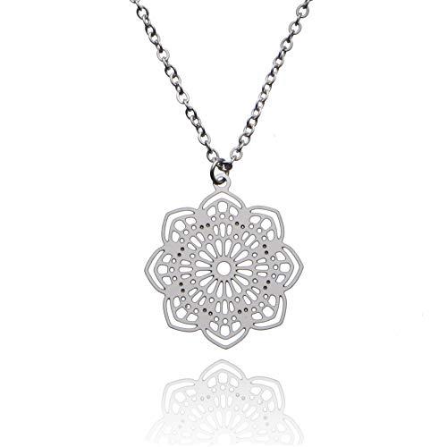 Tara Kette Mandala Edelstahl Yogaschmuck Silber Gold Rosegold Fairtrade schmuckrausch Farbe Silber