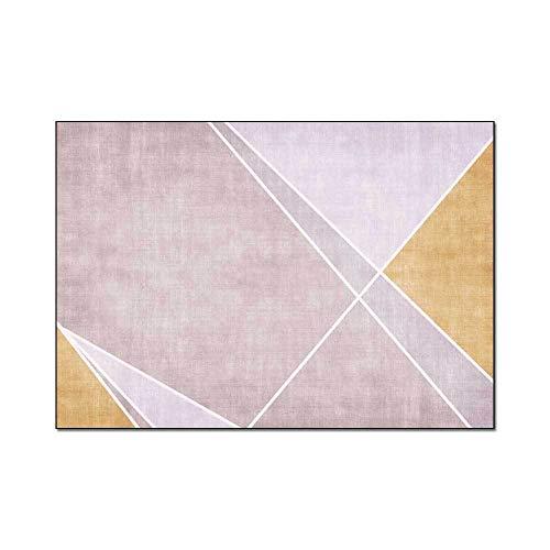 Diseño Alfombra poliéster alfombras Patrón de Costura geométrica Simple Rosa Alfombra Adecuado para Dormitorio, Dormitorio, Pasillo, sofá 80x120CM (2ft7 x3ft11)