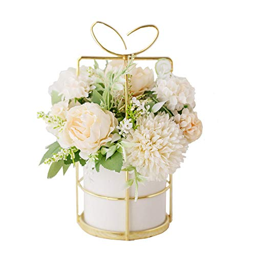 KIRIFLY Artificial Flowers Fake Peony Silk Hydrangea Flower with Vase Flower Décor Arrangements for Wedding Decoration Table Centerpieces(White with Vase Set)