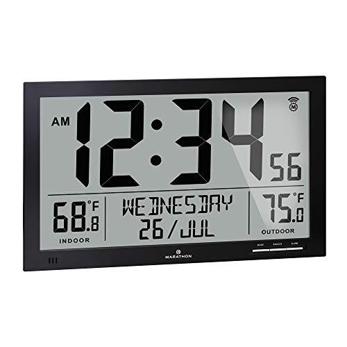 Marathon Slim Atomic Full Calendar Clock with...