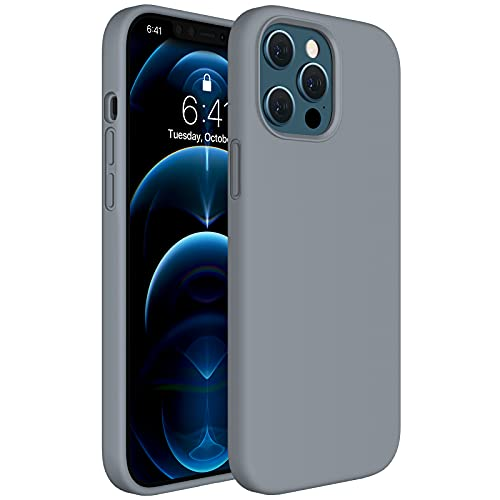 Miracase Compatible with iPhone 12 Pro Max Case 6.7 inch(2020 Release),Liquid Silicone Case Gel Rubber Full Body Protection Shockproof Drop Protection Case(Dark Gray)