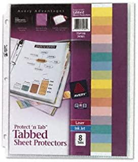 Avery® Protect 'n Tab Top Loading Sheet Protector Protector,SHT,INDX8TAB (Pack of10)