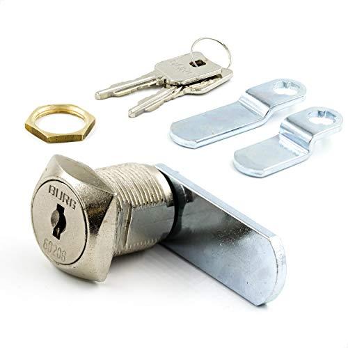 BURG Hebelschloss-Set 20mm verschiedenschließend eckig (Universalzylinder, Briefkastenschloss, Möbelschloss)