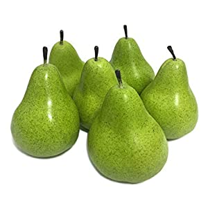 Mefier 6pcs Fake Pears Artificial Fruits Artificial Vivid Green Pears for Home Fruit Shop Supermarket Desk Office Restaurant Decorations Or Props