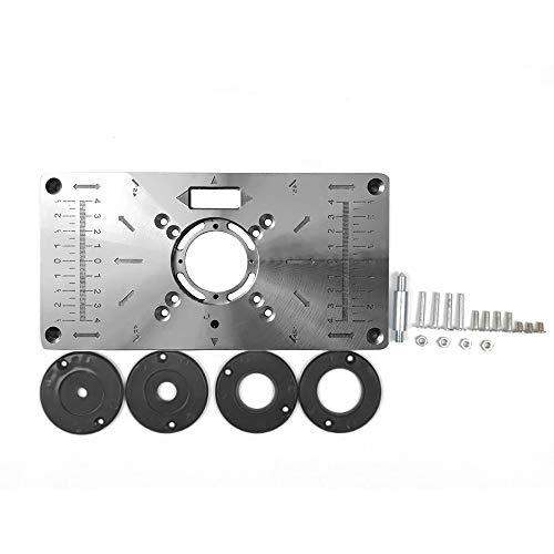 KKmoon Router Multifuncional Tabla Insertar Placa Bancos de Carpintería Aluminio Madera Router Trimmer Modelos Máquina de Grabado con 4 Anillos Herramientas …