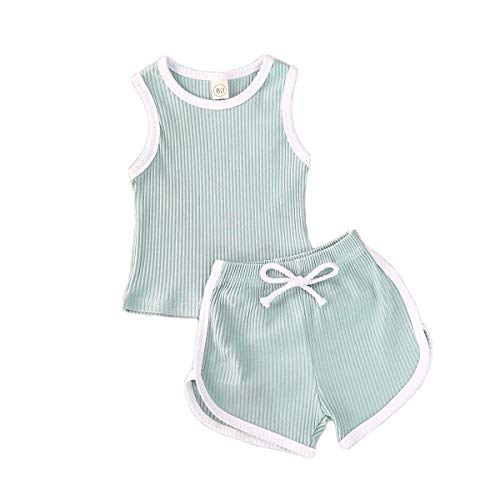 Yoawdats Infant Kids Baby Girl Solid Color Sleeveless Vest Tank Top + Elastic Drawstring Short Pants 2Pcs Outfits (Blue, 2T)