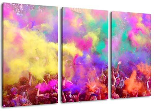 Holi Festival Great Color Party Dreiteiliges Gemälde Auf Leinwand Bilder Poster Frameless Home Decoration