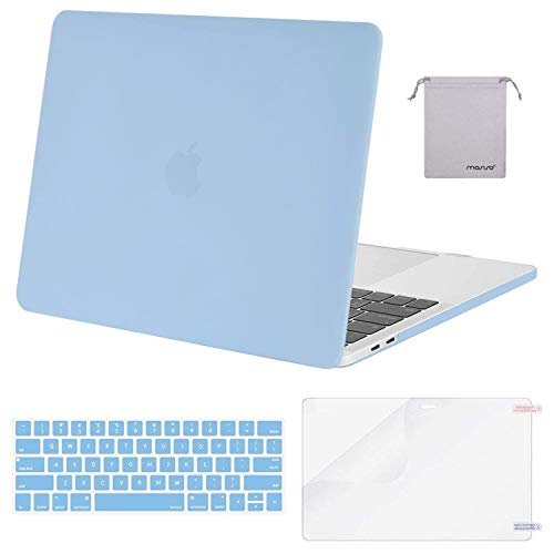 MOSISO MacBook Pro 13 inch Case 2019 2018 2017 2016 Release A2159 A1989 A1706 A1708, Plastic Hard Case&Keyboard Cover&Screen Protector&Storage Bag Compatible with MacBook Pro 13 inch, Airy Blue