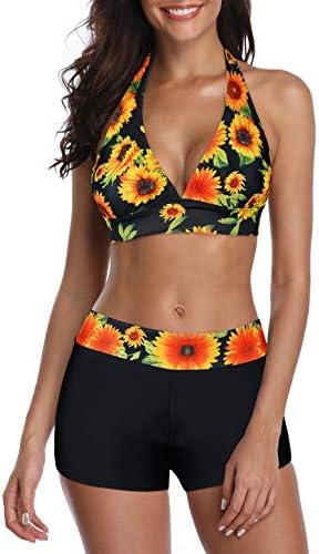 Bikini Swimsuit for Women Two Piece Swimsuits Halter Bikini Set with Boyshort Athletic Bathing product image