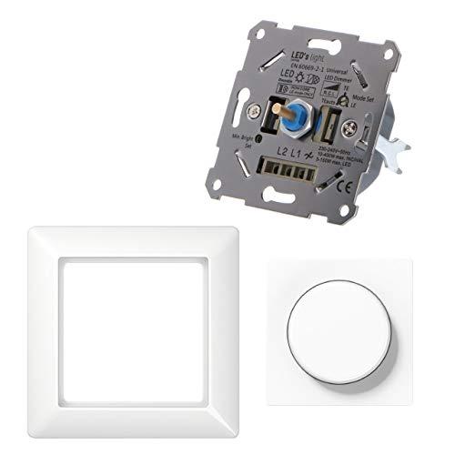Regulador universal para lámparas regulables como set completo con Jung AS blanco alpino. 3-150 W LED/10-400 W Hal./incand. Regulación corte de fase inicial y final. Garras de fijación