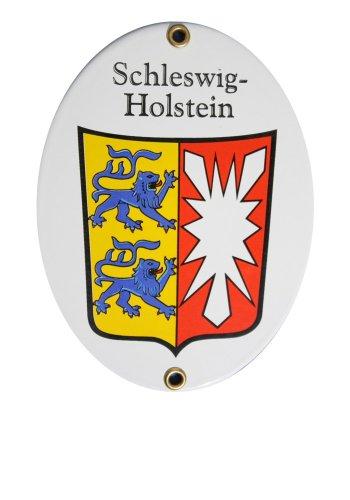 Schleswig-Holstein Emaille Schild Schleswig-Holstein 11,5 x 15 cm Emailschild Oval.