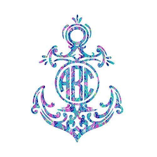 Monogram Anchor Vinyl Decal Sticker for Car, Yeti Cup, or Laptop - Custom Size and Colors