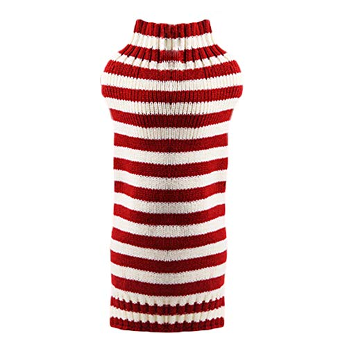 Kanggest.Suéter de Punto Perro Ropa para Perros Mascotas Abrigos Jerseys de Lana de Invierno para Mascotas Ropa Perritos Abrigo Chaleco Chaqueta de Perros con Diseño de Rayas Rojo-XL