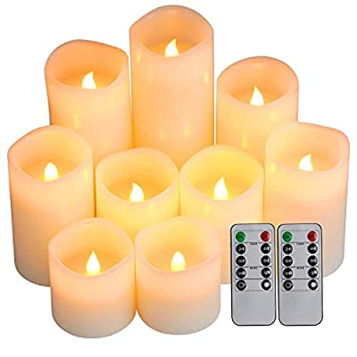 """Flameless Candles, Battery Candles Set of 9(H 4"""" 5"""" 6"""" x D 3"""") Waterproof Outdoor Indoor Led Candles with Remote Timer by Comenzar (Amber Yellow)"""
