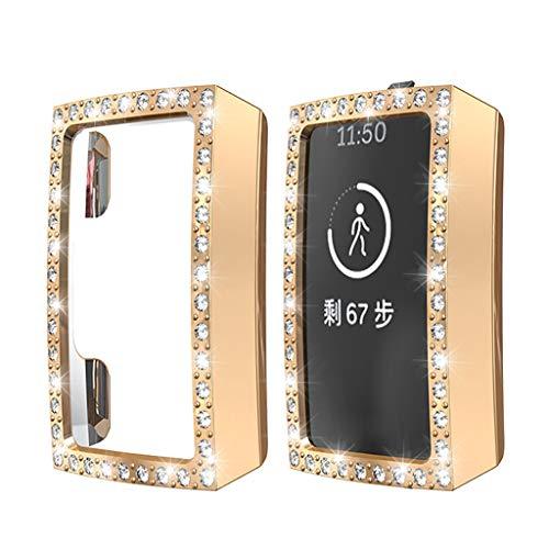 Deng Xuna Für Fitbit Charge 3 Schutzhülle,Luxury Crystal Ultra dünn PC Hülle Case Schutz für Fitbit Charge 3 Smartwatch,[Kratzfest] [Anti Fingerabdruck] (Rose Gold)