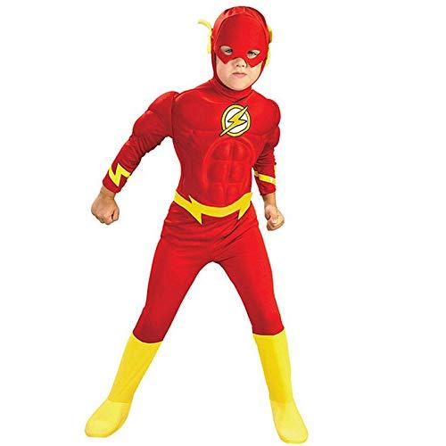 WEIR Costume Cosplay per Bambini Supereroe Flash Costume da Tuta Muscolare per Ragazzi Vestito di Halloween Vestito da Personaggio Anime,flash-100~110cm
