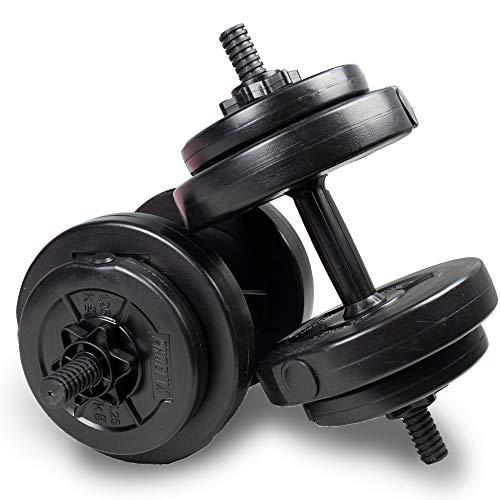 Phoenix Fitness 15kg Dumbbells Weight Set for Home Gym Fitness and Strength Training - Vinyl Adjustable Dumbbell Set