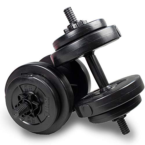 Phoenix Fitness 15kg Dumbbells Weight Set for Home Gym Fitness and Strength Training - Vinyl Adjustable Dumbbell Set
