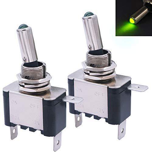 mxuteuk 2 unids 12 V 20 A verde LED luz resistente Rocker interruptor de palanca SPST ON/OFF 3Pin coche camión barco ASW-07D-G