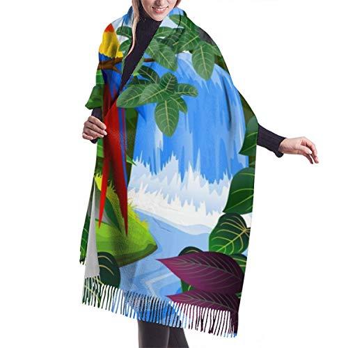 Foulard Scialle Pashmina da Donna Macaw e tucano appollaiati sui rami fauna esotica delle foreste pluviali americane Invernale Sciarpa Lungo Morbida Calda Stole