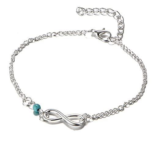 tggh Pulsera para mujer con colgante de mariposa turca azul, ajustable, joyería para niña (color metal: plata 8)