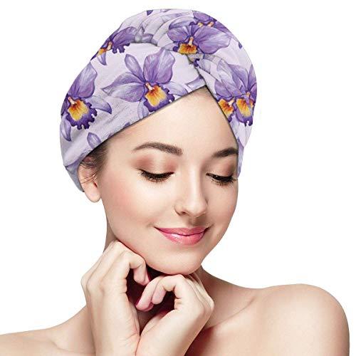 N/A Serviette à Cheveux en Microfibre Turban à séchage Rapide, Bonnet de Bain, Fleurs d'orchidées Tropicales de Style Aquarelle hawaïen