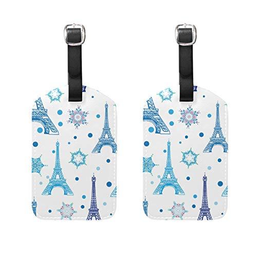 Juego de 2 etiquetas de equipaje de la Torre Eiffel de Navidad para maleta