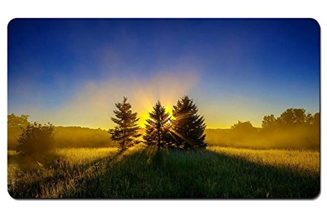 比喩学んだ銃早朝、霧、自然の風景、日の出、木 パターンカスタムの マウスパッド 旅行 風景 景色 デスクマット 大 (60cmx35cm)