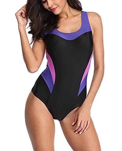 Ymonio Women's Athletic Training Swimsuit Bathing Suits Slimming One Piece Swimsuits for Women (Purple Black, Medium)