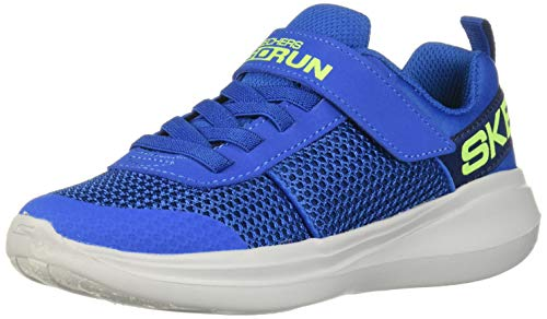 Skechers Herren Go Run Fast Tharo Sneaker, Blau (Blue Textile/Blue Synthetic/Lime Trim Bllm), 38 EU