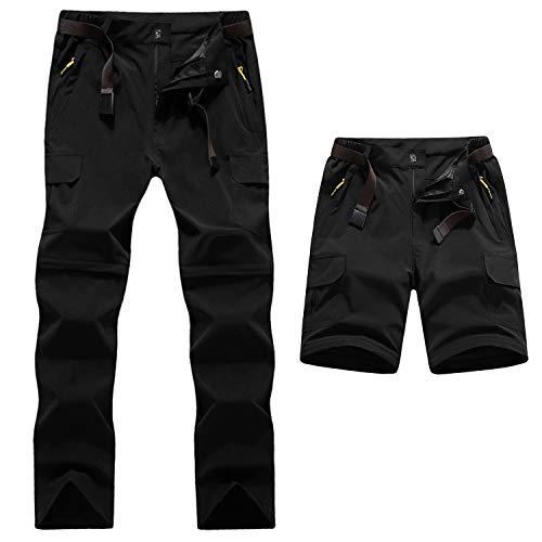 LHHMZ Hommes Pantalon de Randonnée Convertible Extérieur à séchage Rapide Respirant Imperméable Zip Off Pantalon de Chasse Escalade Cyclisme