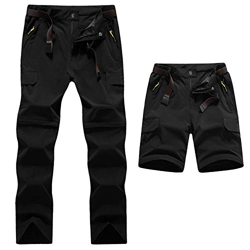 Pantalones para hombre de trekking y senderismo. Convertibles Transpirable Impermeable Zip Off Pantalones de Escalada para Caminar