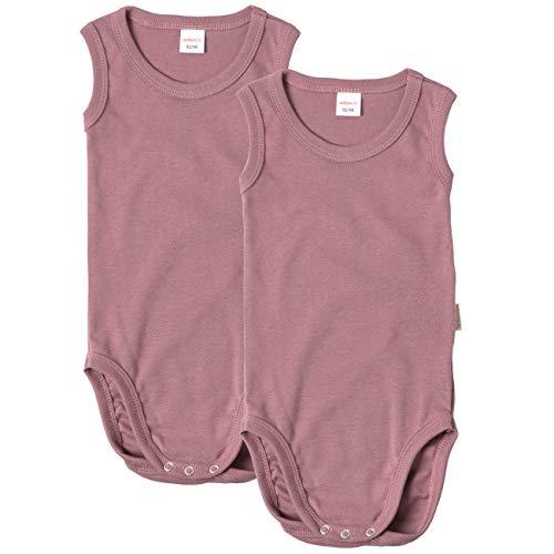 wellyou Body per neonati e bambini, confezione doppia senza braccia, per ragazzi e ragazze, in 100% cotone, set da 2 pezzi, taglia 92-134 Old Pink 104/110 cm
