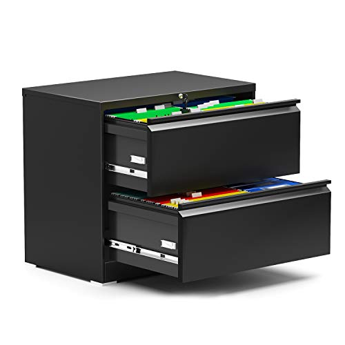 Quickly Assemble Steel Lateral File Storage Cabinet with 2 Lockable Drawers Metal 0 Screw Lateral File Cabinet for Office and Home Assembly Required 2825 W × 177 D × 283  HBlack 2D