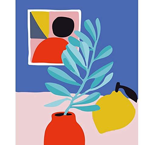 Zitronenvase Handgemachte Farbe Leinwand Schöne Malerei nach Zahlen 16x20 Zoll