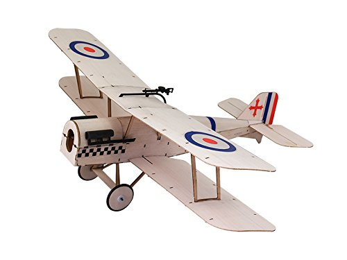 Micro RC Biplane Kit SE5A, 14.8'' Wingspan Laser Cut Balsa Wood Model Airplane Kits to Build, DIY 3CH Remote Control Airplane Mini Indoor Electric RC Plane Kit for Adults (KIT+Motor+ESC+Servos)
