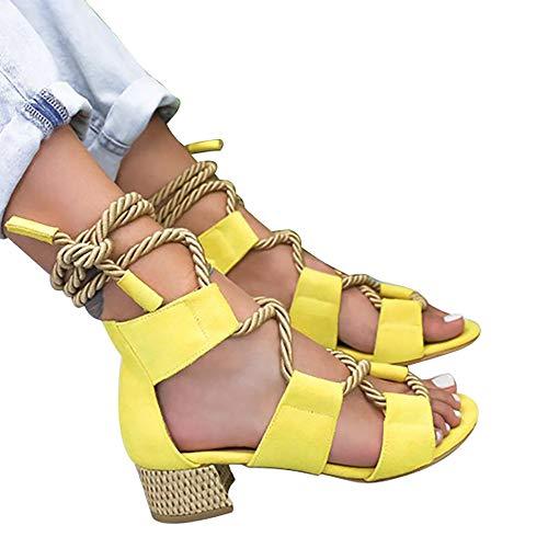 Vertvie Damen High Heels Sandale Plattform Riemensandalen Mit Absatz Bunt Gladiator Sandalen Schnür Stiefel Peeptoe Schuhe Gr.35-43 (35 EU, Gelb 3)