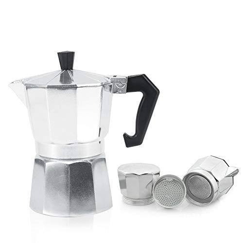 Caffettiera Italiana in Alluminio da Cucina / Ufficio / Casa, per Espresso, Argento (300ML 6tasses)