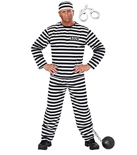 Party-Teufel® Komplett Kostüm Sträfling mit Hose Hemd Kappe Fußkugel Handschellen Herren Sträflingskostüm Knast Gr. L