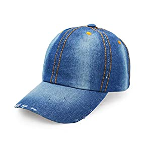 Denim Baseball Cap, Unisex Sport Hat Casual Women Men Sun Hat Outdoor Cowbo...