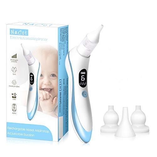 Nasensauger Baby, Elektrischer Nasal Aspirator USB Aufladen Nasenschleimentferner Sicherer und Schneller, 6 Betriebsstufen & 4 Größe für Neugeborene & Kleinkinder