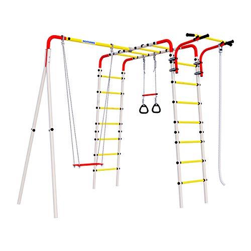 Wallbarz Patio al aire libre Happy Meadow, marco de escalada de jardín para niños, juguetes, swing
