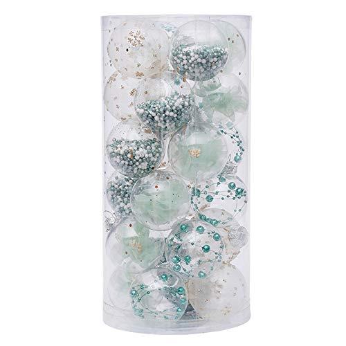 24 pcs 6cm Bolas de Navidad Transparente de Plástico Acrílico,Plástico Acrílico Rellenable, para Llenado de Decoraciones de Árboles de Navidad Bodas Bautismo
